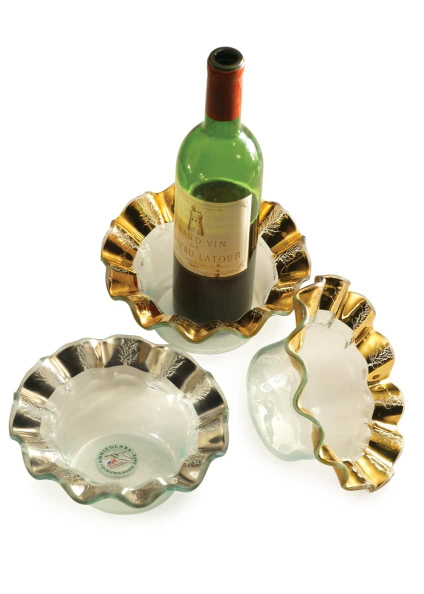 Annieglass Ruffle Gold Wine Coaster