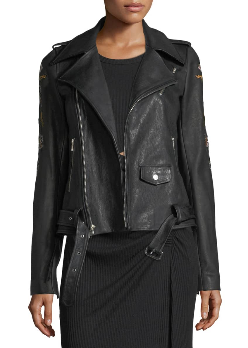 A.L.C. Benson Leather Moto Jacket with Floral-Embroidery &