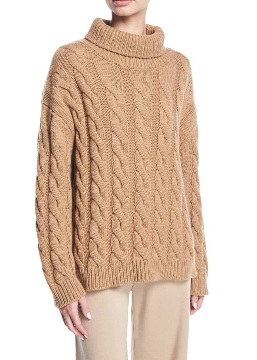 Mansur Gavriel Cable-Knit Cashmere Turtleneck Sweater & Matching