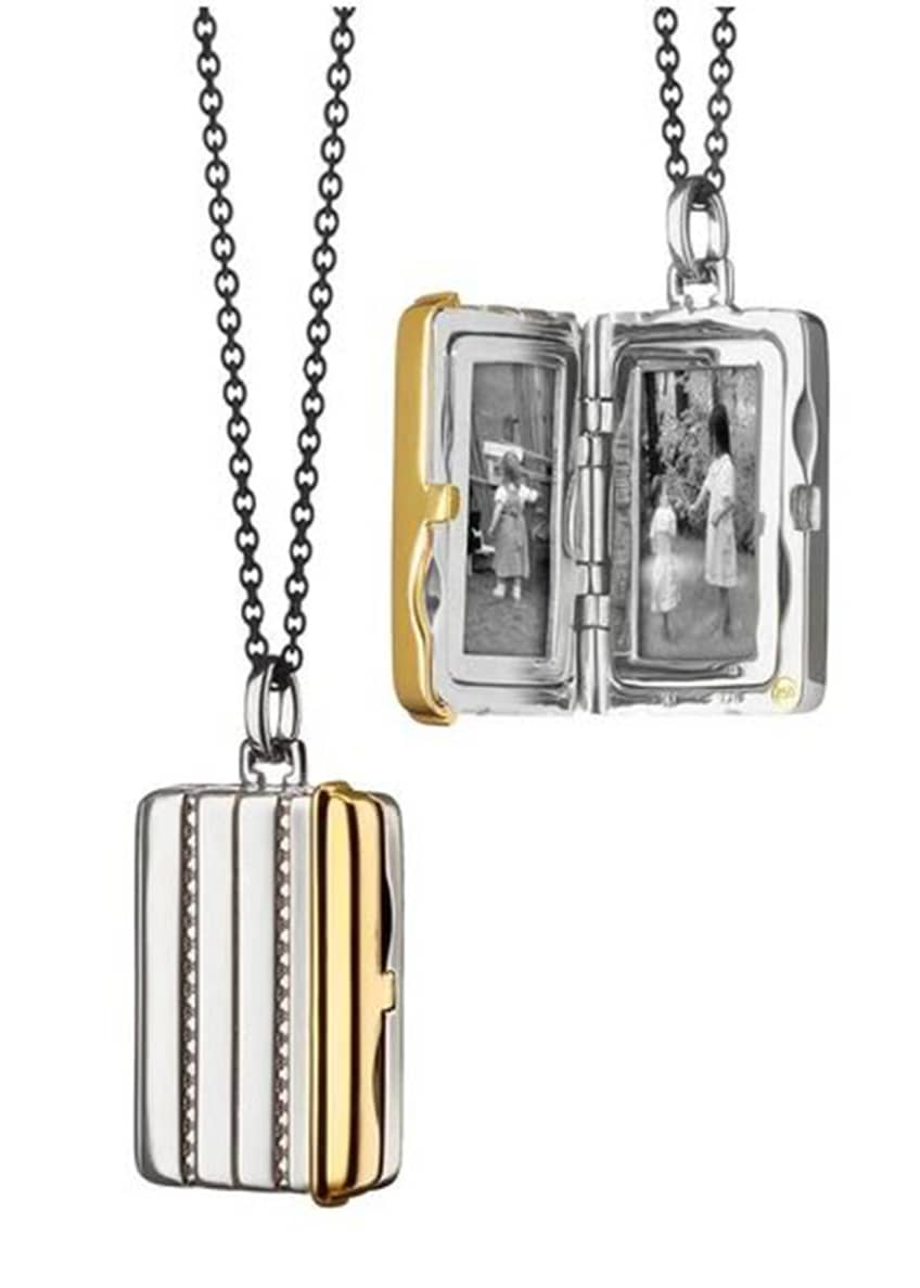 Image 1 of 1: Silver & 18k Yellow Gold Rectangle Locket Necklace, 32""