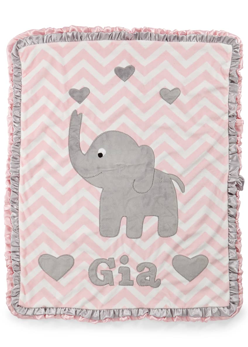 Image 2 of 2: Personalized Big Foot Elephant Plush Blanket, Pink