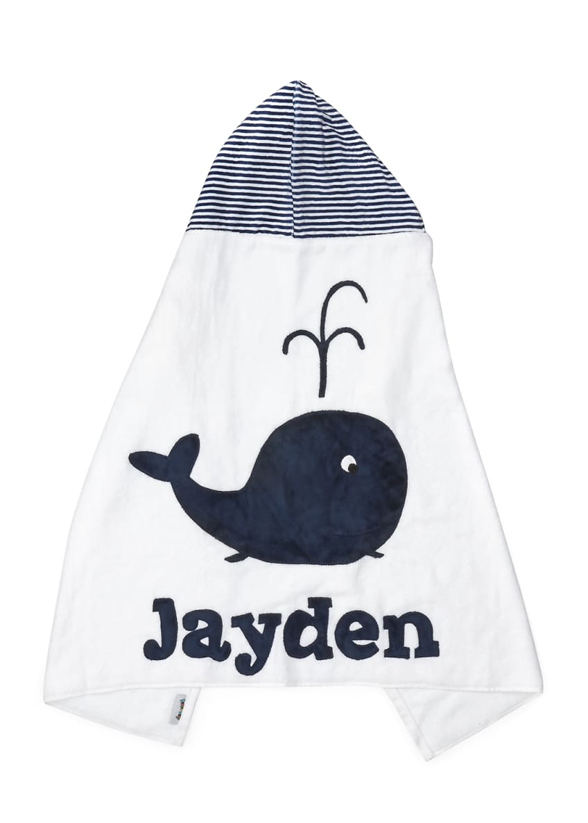Image 2 of 2: Personalized Whale Hooded Towel, White