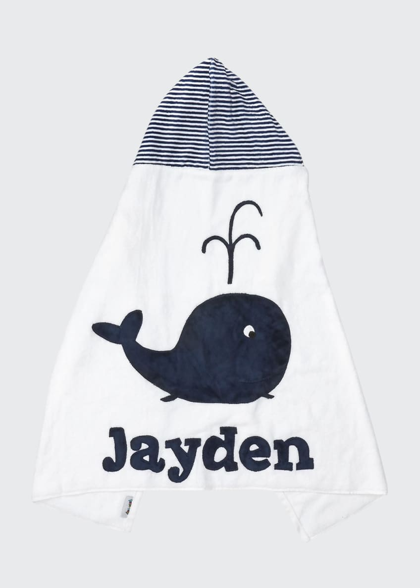 Image 1 of 2: Personalized Whale Hooded Towel, White