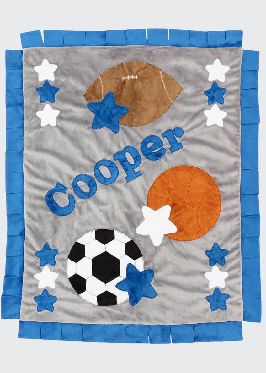 Boogie Baby Good Sport Plush Blanket, Gray/Blue &