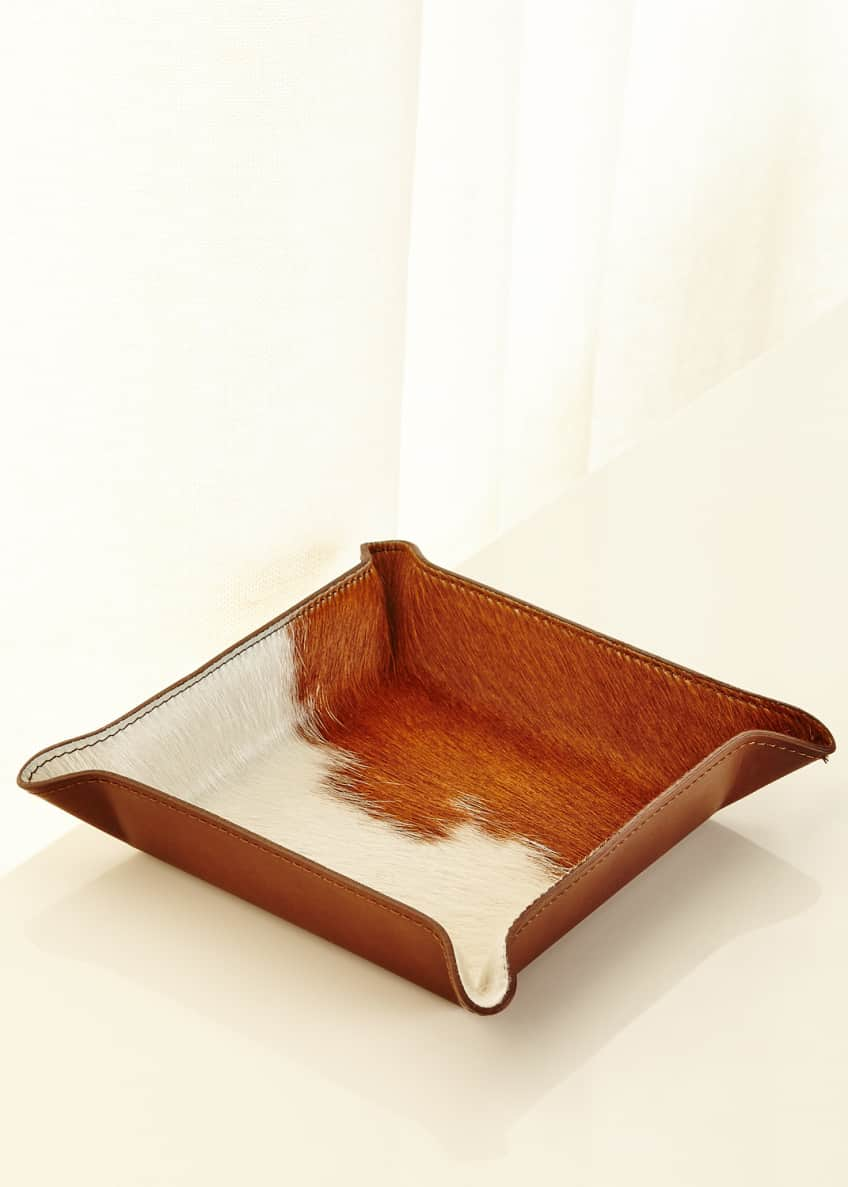 Image 1 of 1: Calf Hair Valet Tray, White/Brown