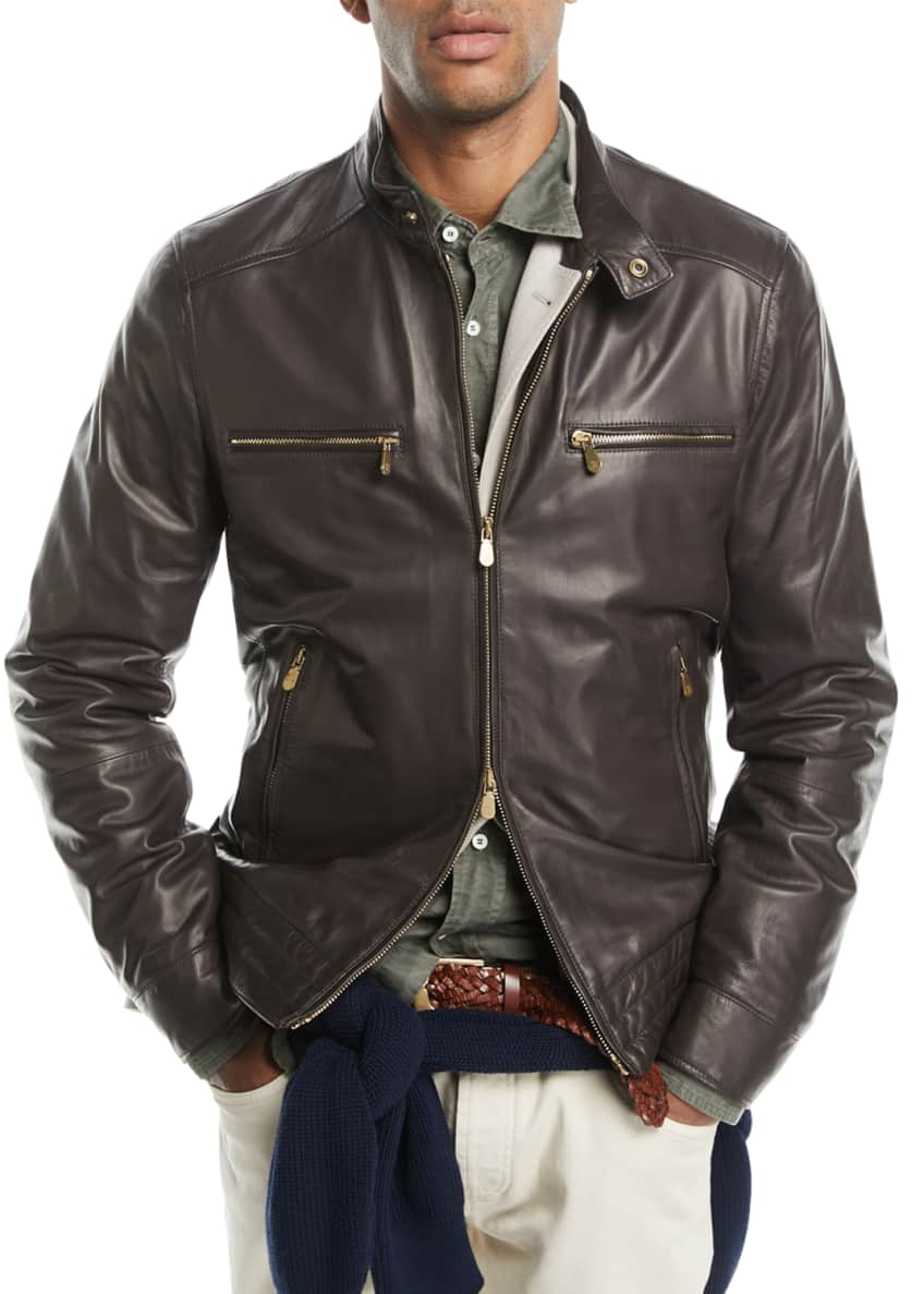 Leather Jacket with Zip Pockets & Matching Items
