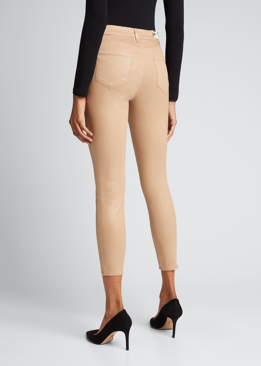 Image 3 of 6: Margot High-Rise Coated Skinny Jeans