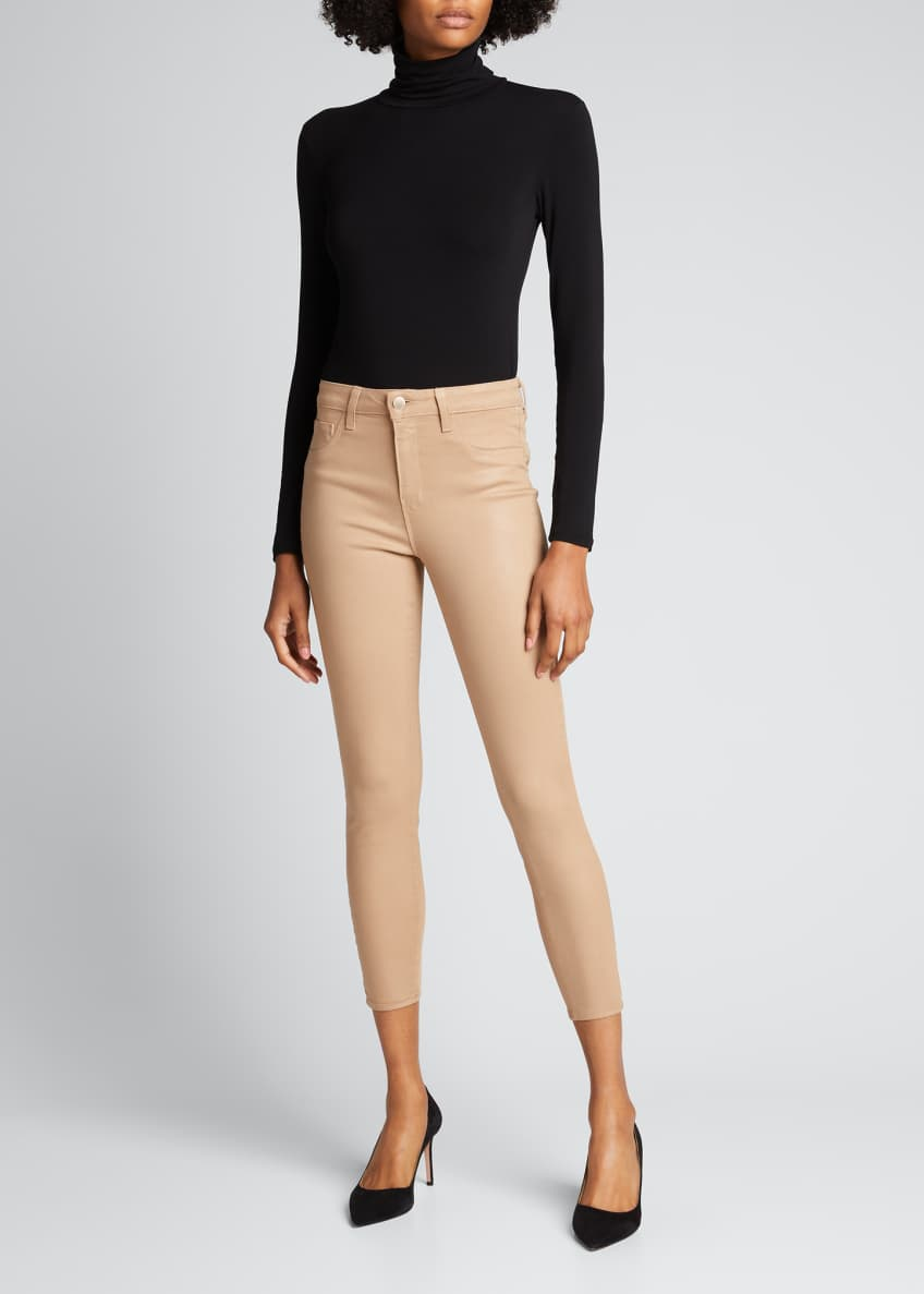 Image 1 of 6: Margot High-Rise Coated Skinny Jeans