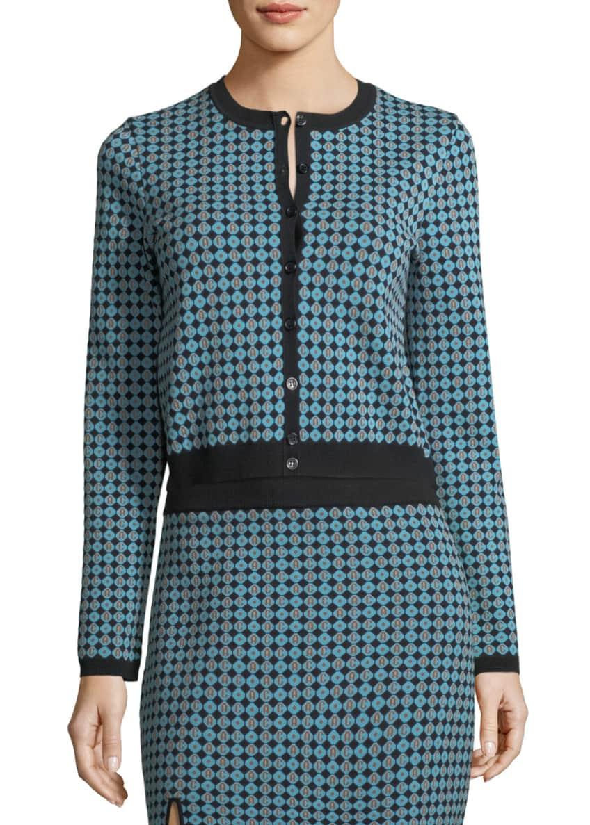 Alexa Chung Monogram Jacquard Button-Front Cardigan & Matching