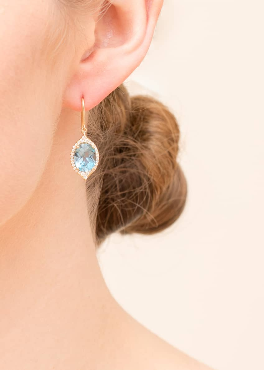 Image 2 of 2: 18k Small Oval Aladdin Pave Earrings w/ Blue Topaz & Diamonds