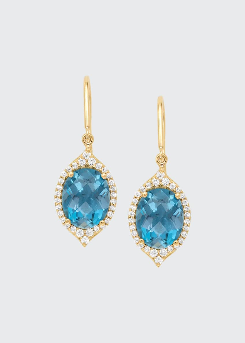 Image 1 of 2: 18k Small Oval Aladdin Pave Earrings w/ Blue Topaz & Diamonds
