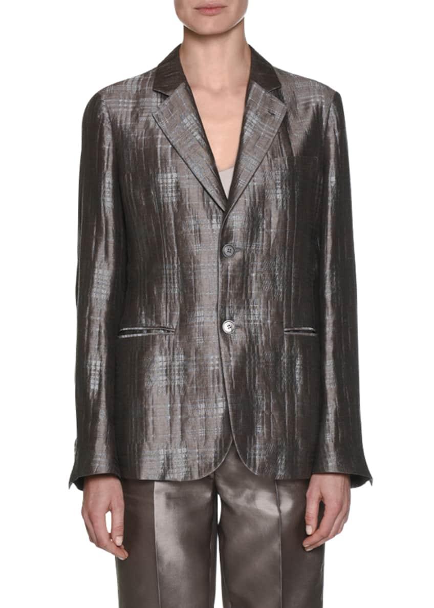Giorgio Armani Notched-Collar 2-Button Windowpane Silk Jacket &