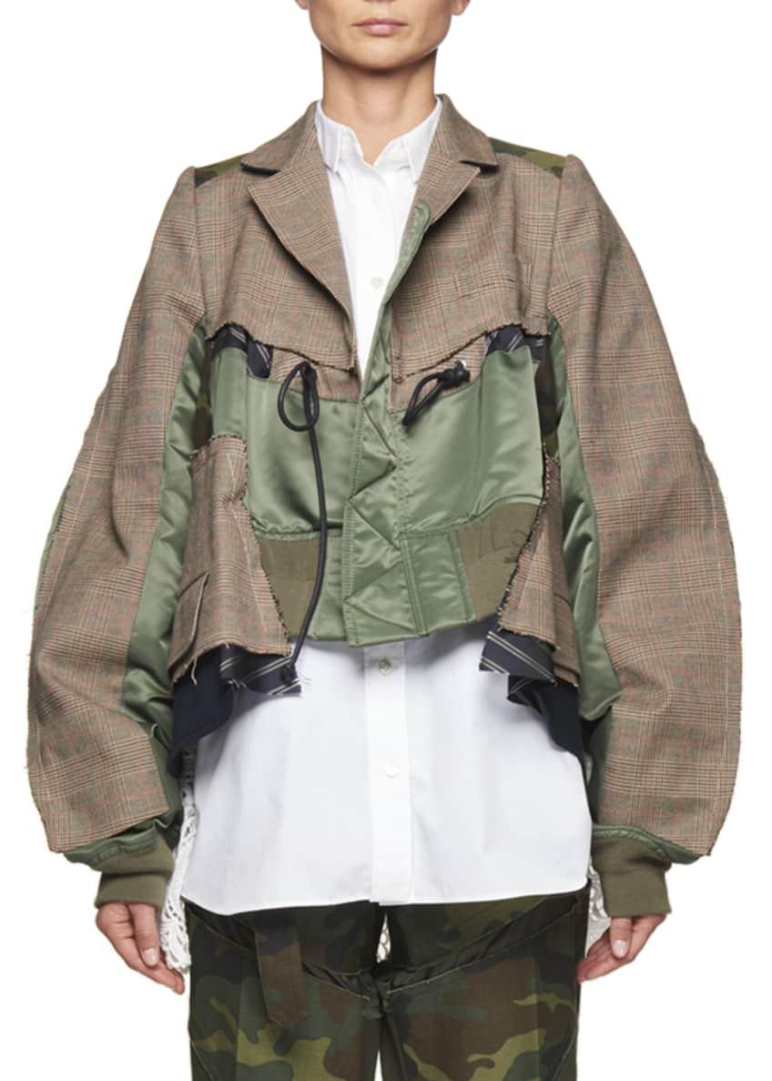 SACAI Cropped Glen Plaid & Satin Combo Jacket