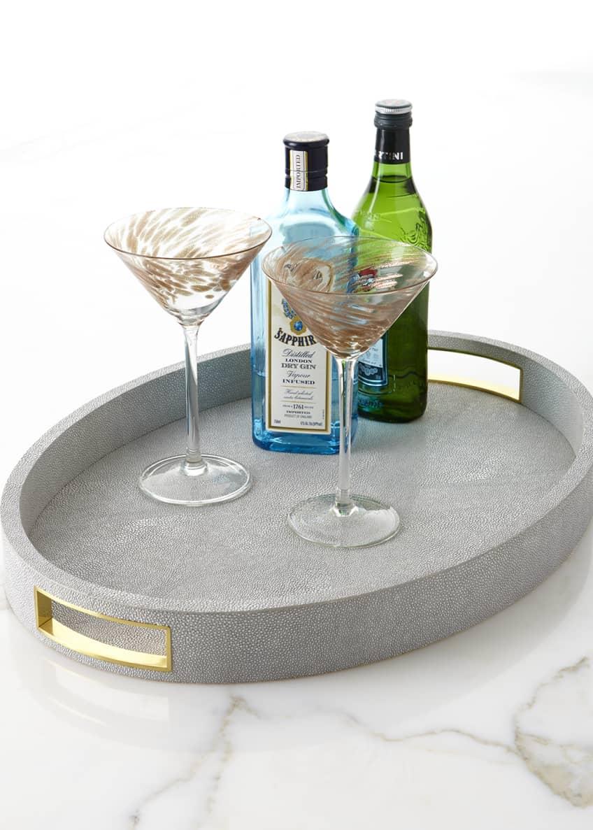AERIN Modern Faux-Shagreen Cocktail Tray