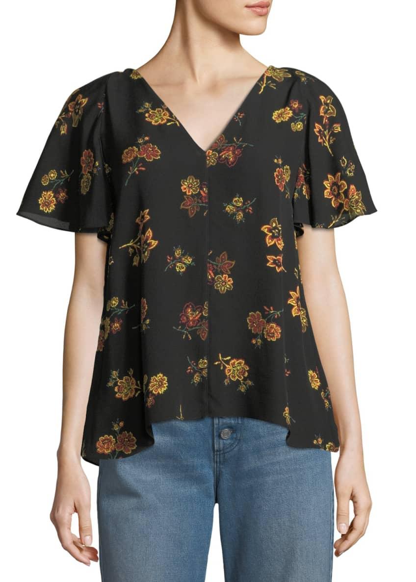 A.L.C. Clara V-Neck Floral-Print Silk Top & Matching