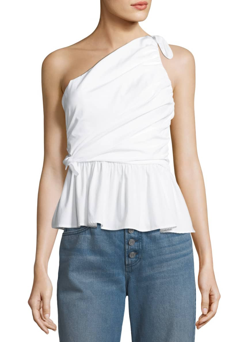 A.L.C. Soraya One-Shoulder Draped Cotton Top & Matching