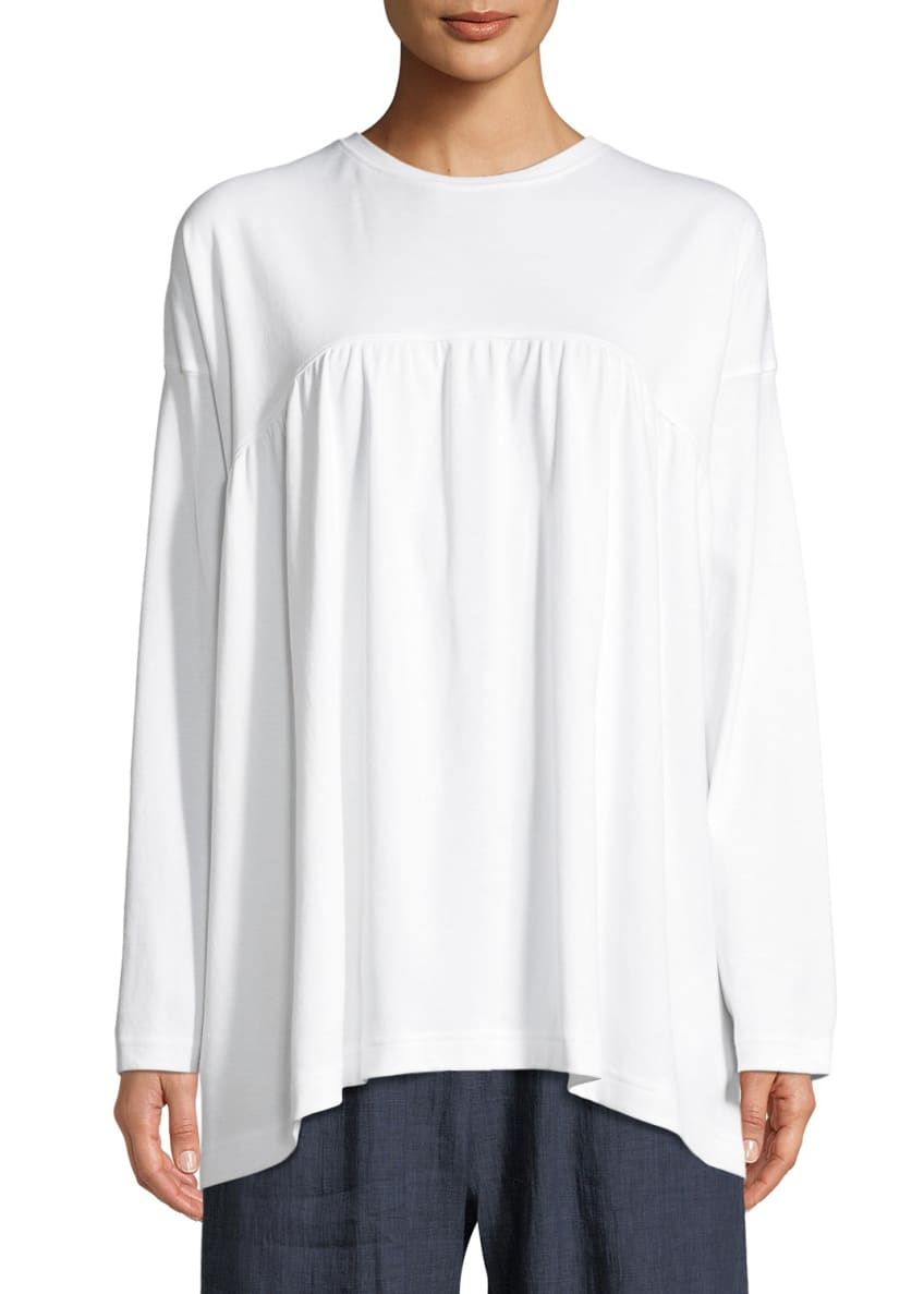 Eskandar Round-Neck Long-Sleeve Shirred-Front Pima Cotton Top,