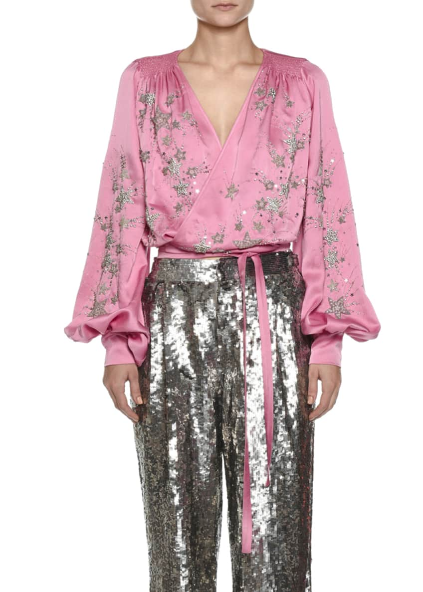 Attico Star-Embroidered Satin Wrap Blouse & Matching Items