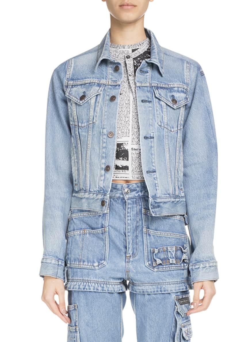 Balenciaga Button-Front Light-Wash Denim Jacket & Matching Items