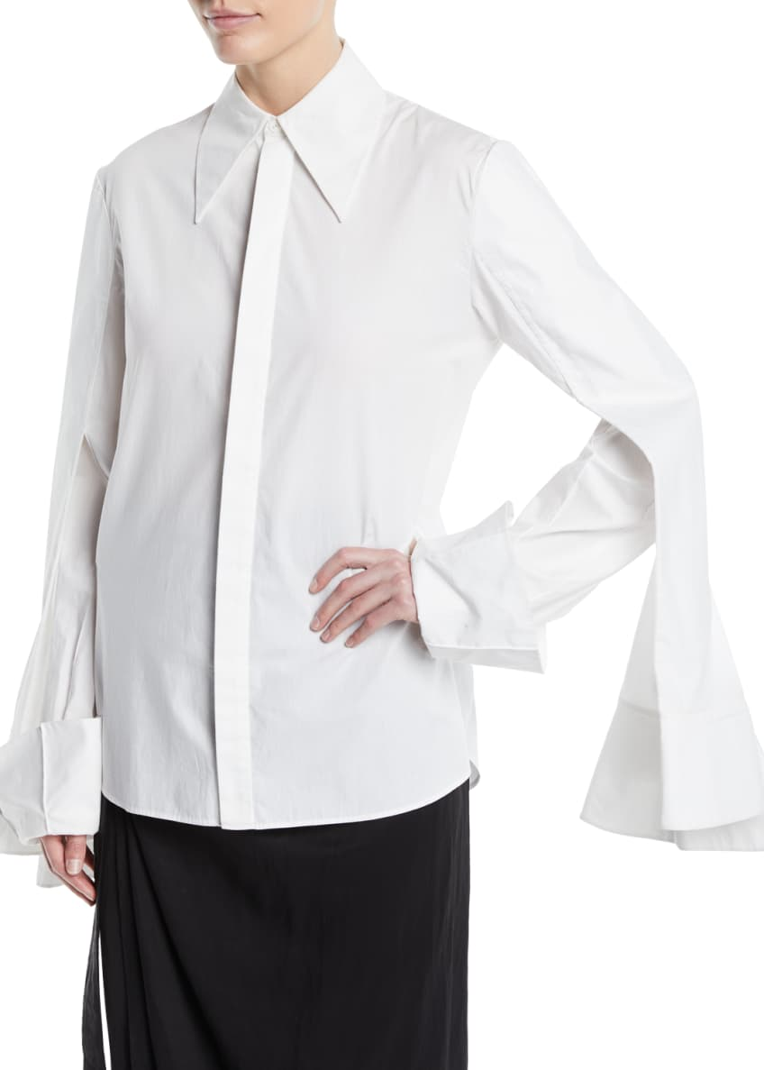 A.W.A.K.E. 3-Sleeve Point-Collar Button-Down Cotton Shirt &