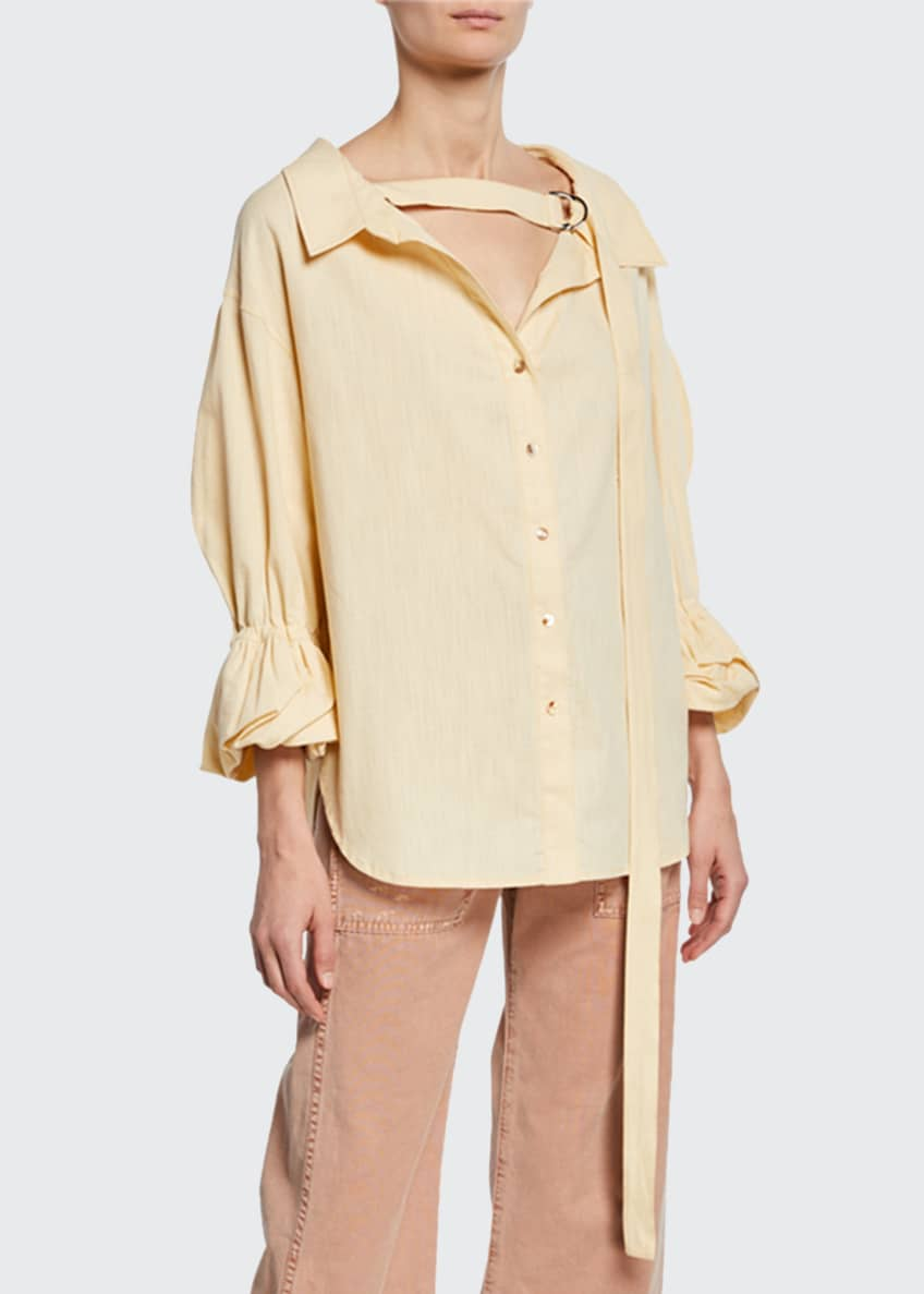 REJINA PYO Amber V-Neck Button-Front Linen Shirt &