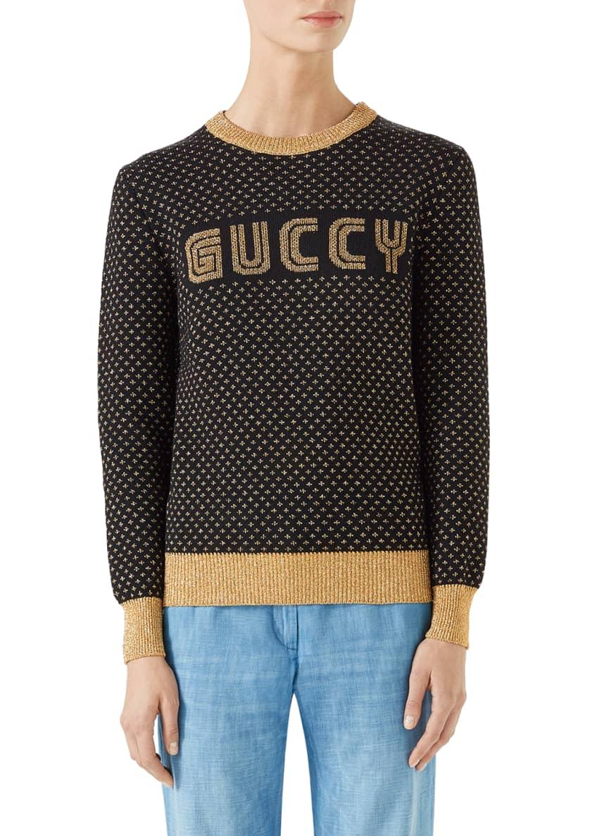 Gucci Long-Sleeve Crewneck Lurex� Wool Guccy Sweater &