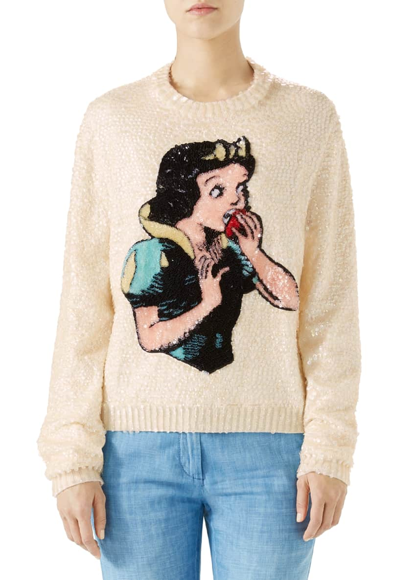 Gucci Snow White Sequin Wool Knit Sweater &