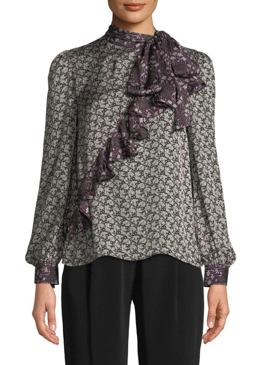 Co Tie-Neck Asymmetric Ruffle Floral-Print Crepe Silk Blouse