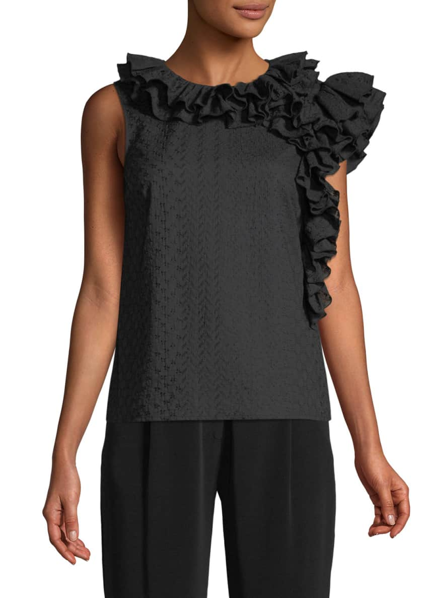 Co Sleeveless Embroidered Cotton Voile Top w/ Ruffle