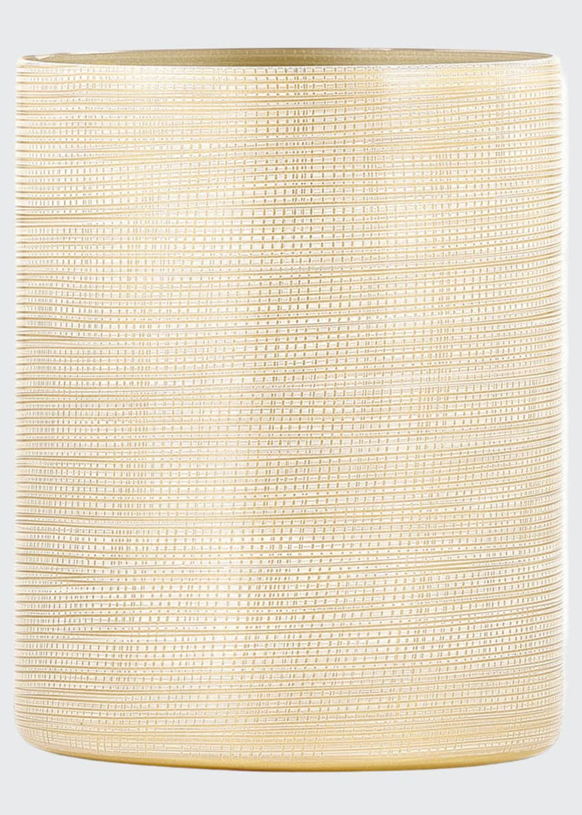 Image 1 of 1: Woven Wastebasket, Gold