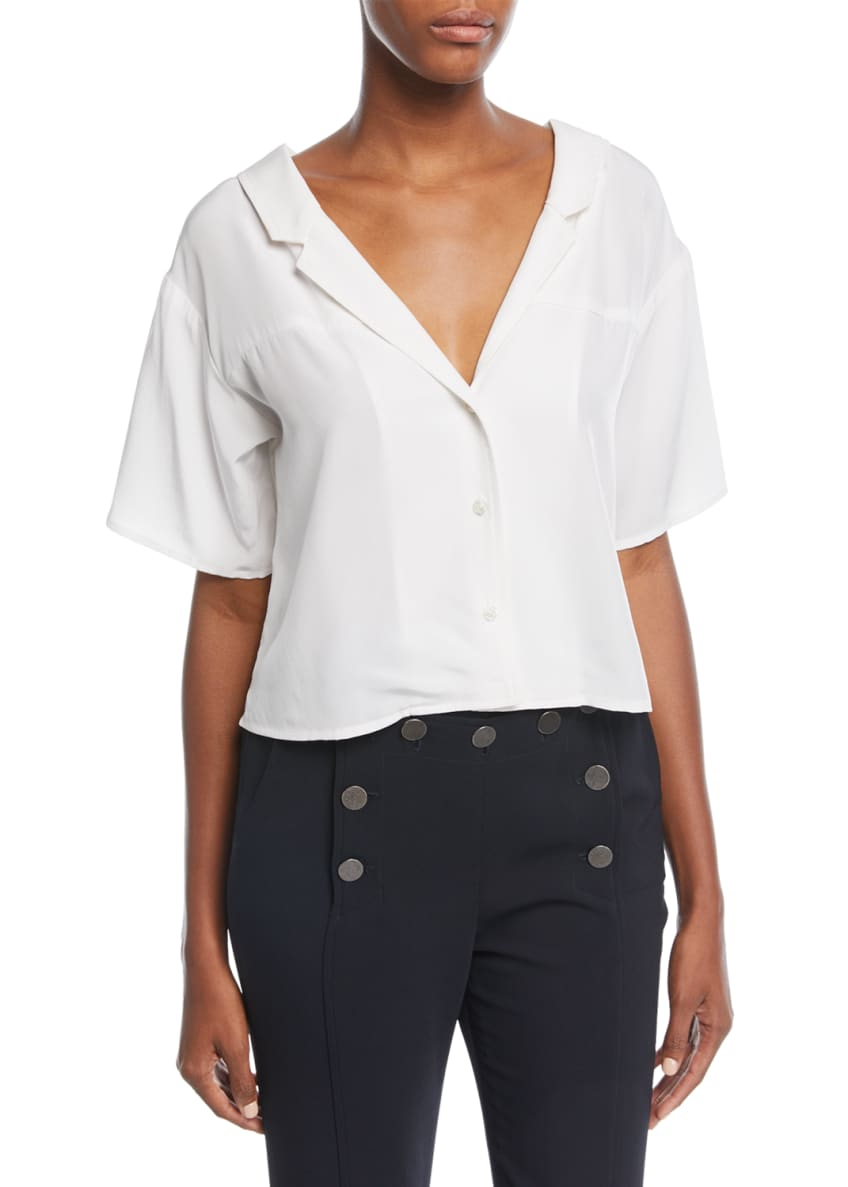 A.L.C. Arto V-Neck Button-Front Silk Top & Matching