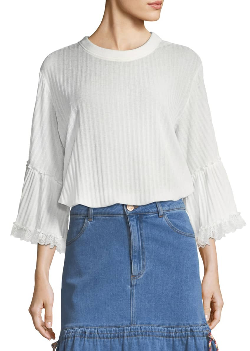 See by Chloe Crewneck 3/4 Sleeve Rib-Knit Top