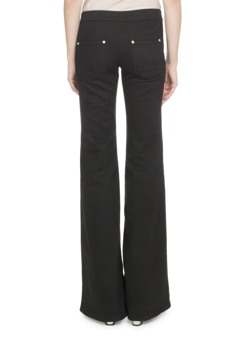 Image 2 of 2: Flare-Leg Stretch-Cotton Pants