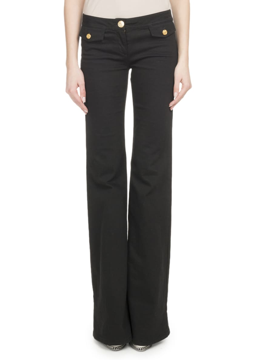 Image 1 of 2: Flare-Leg Stretch-Cotton Pants