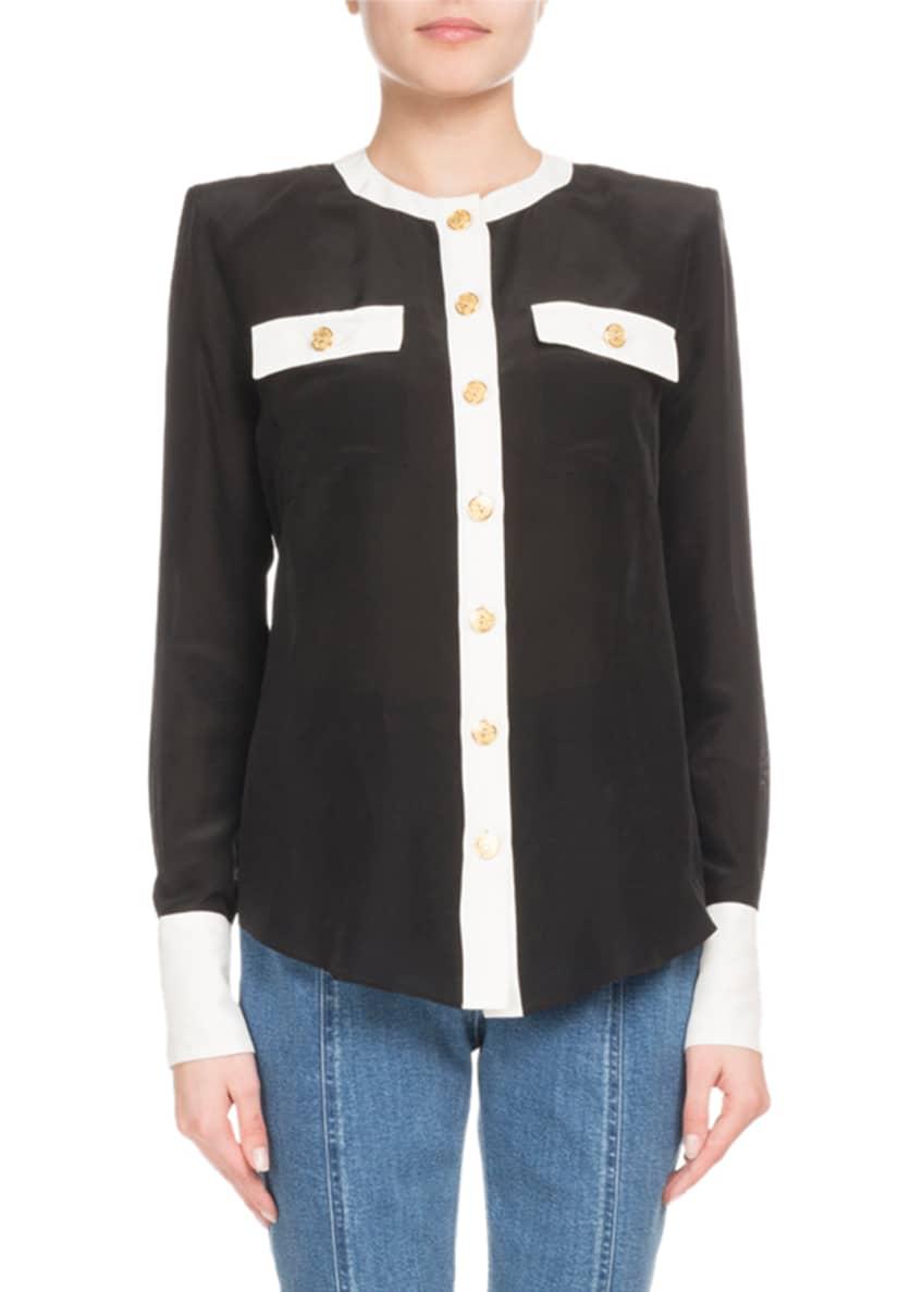Balmain Button-Front Long-Sleeve 2-Pocket Silk Blouse & Matching
