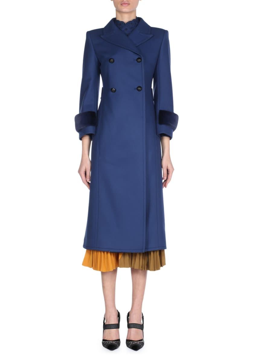 Fendi Double-Breasted Wool Coat with Tonal Mink Fur