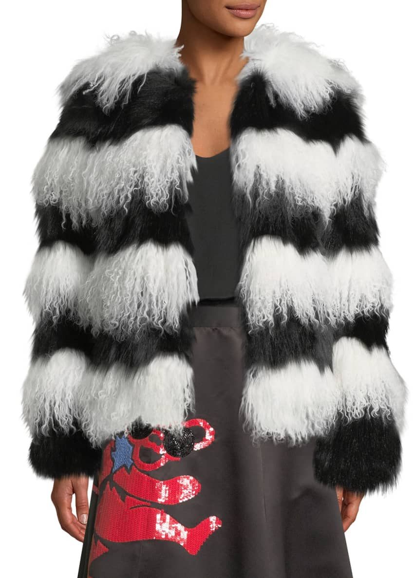 Alice + Olivia Verity Fur Coat, Black/White &