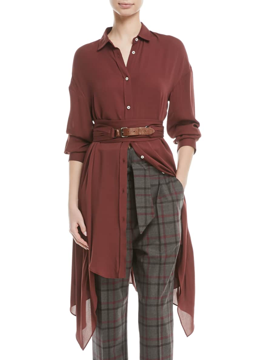 Brunello Cucinelli Long-Sleeve Button-Down Silk Tunic w/ Wrap