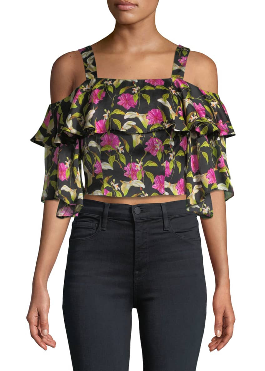 Milly Audrey Floral-Print Ruffled Top & Matching Items
