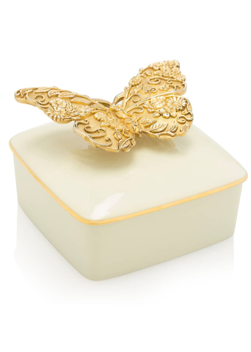 Jay Strongwater Gilded Butterfly Porcelain Box