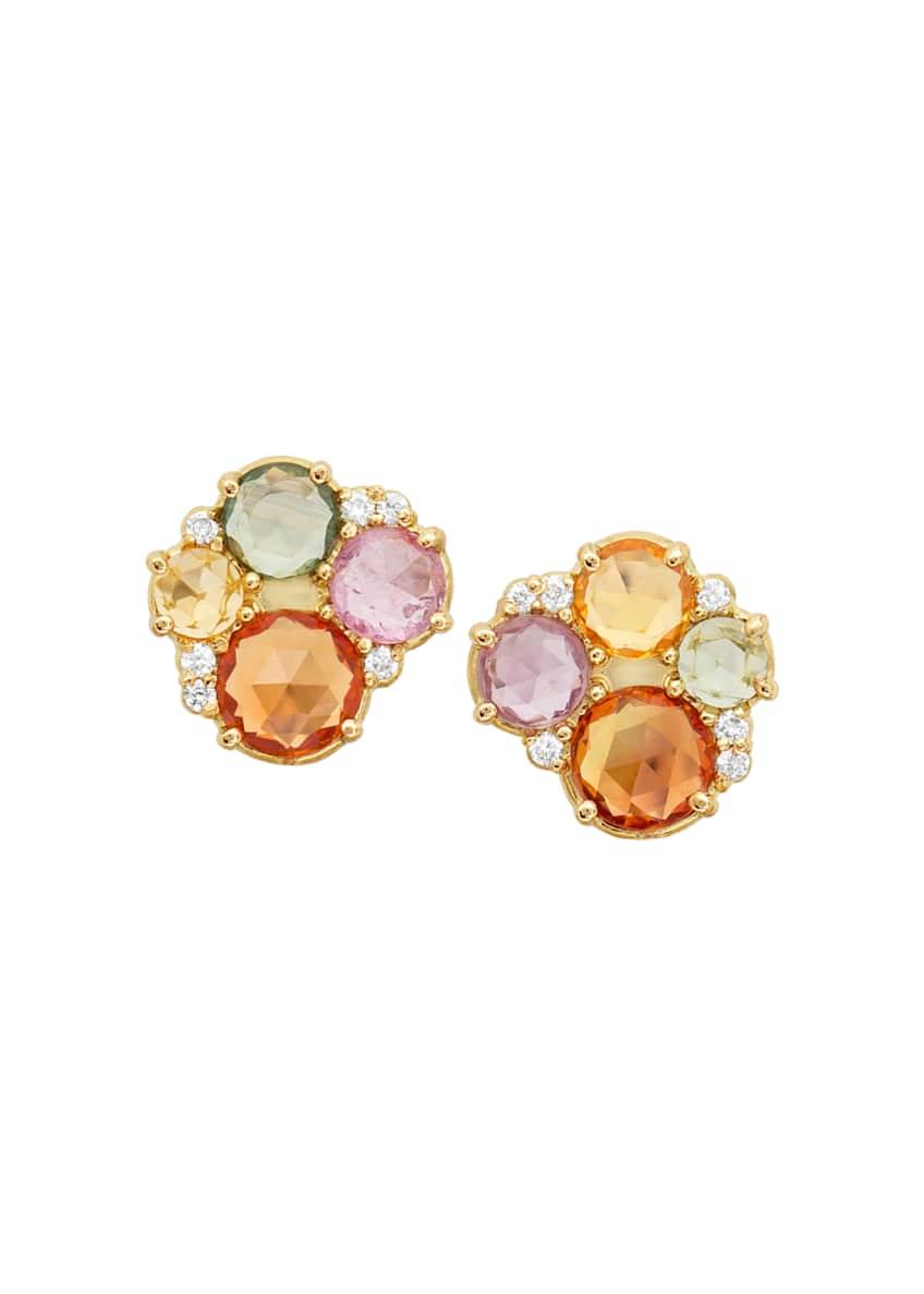 Jamie Wolf 18k Multicolor Sapphire & Diamond Stud