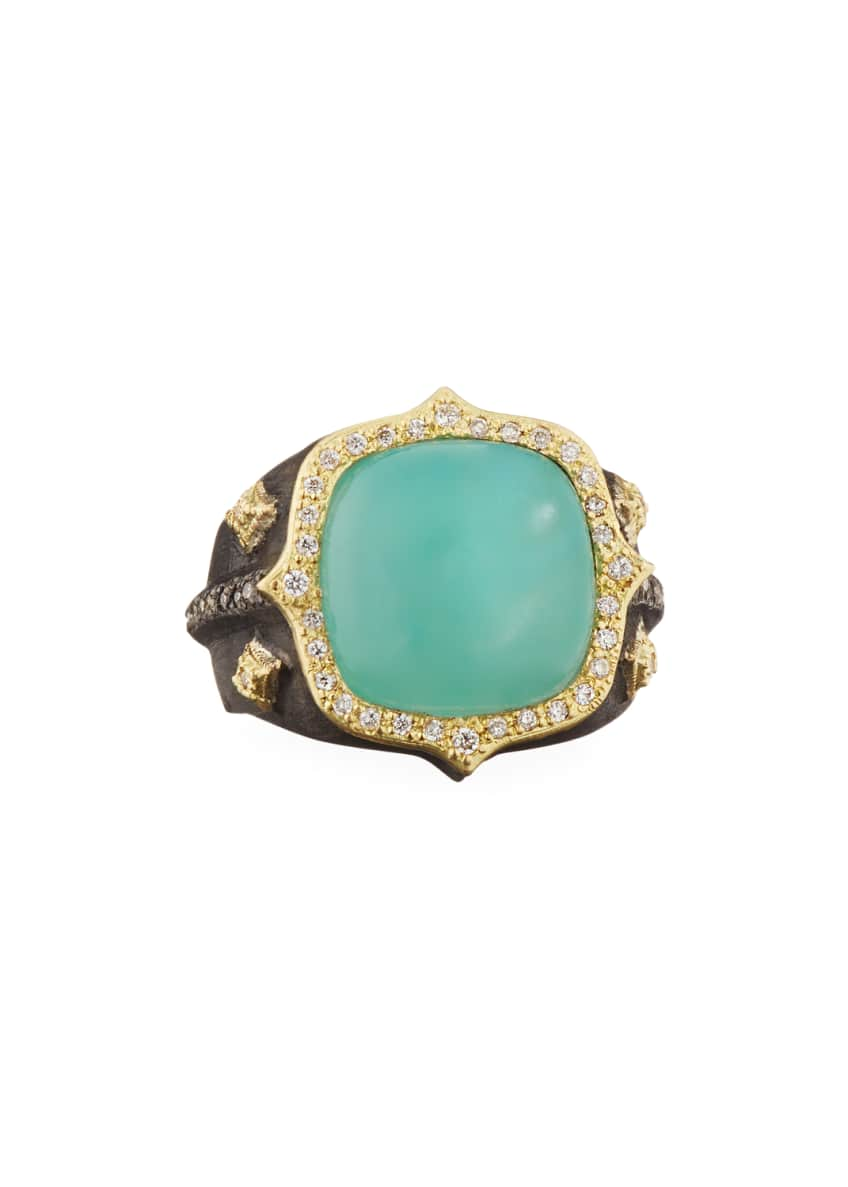 Armenta 18k Old World Aquaprase™ & Diamond Ring