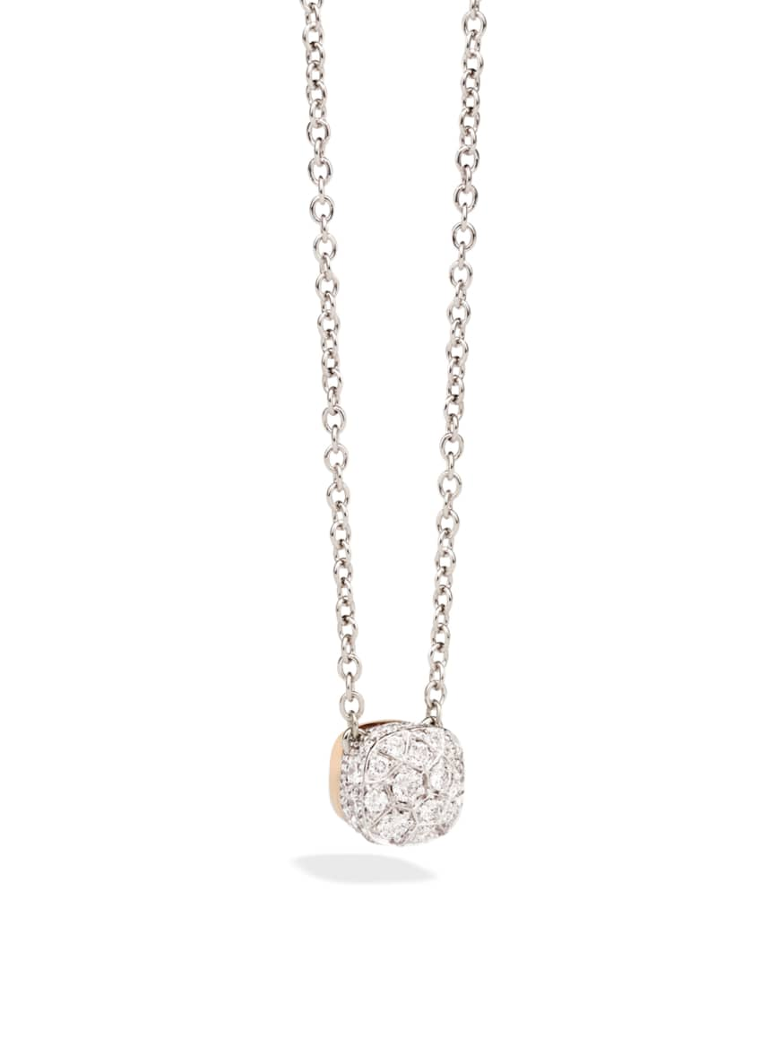 Image 1 of 1: Nudo 18K White & Rose Gold Diamond Pendant Necklace