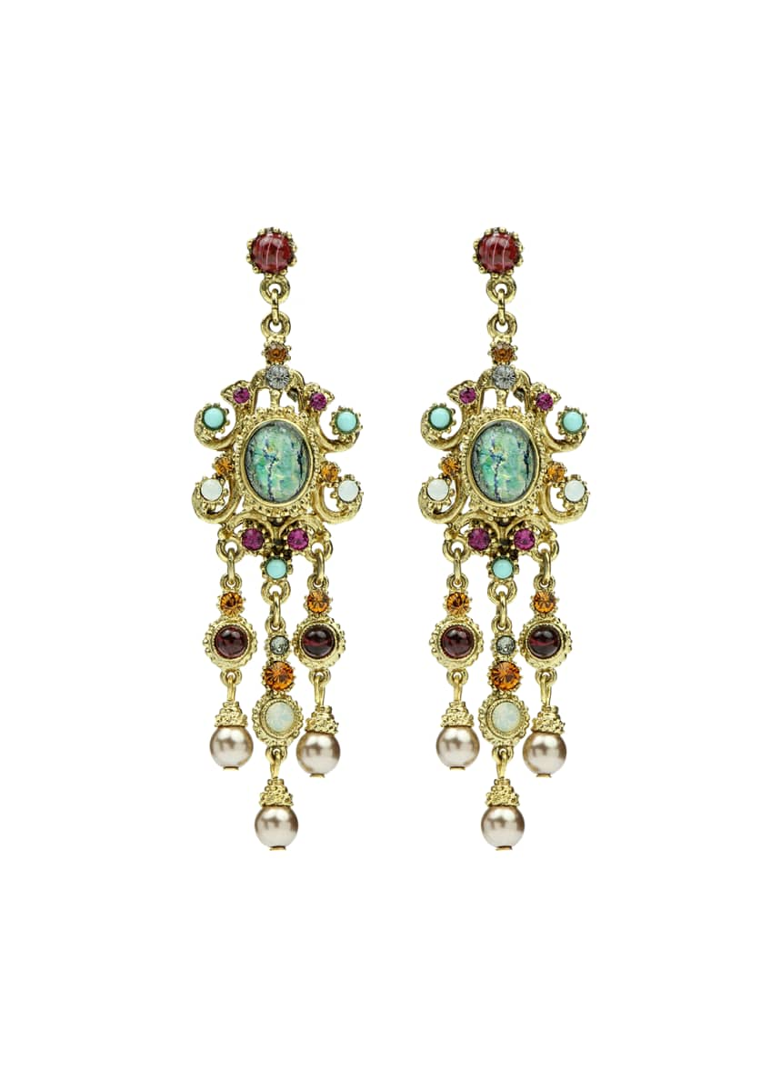 Ben-Amun Multicolor Triple Pearly Drop Earrings