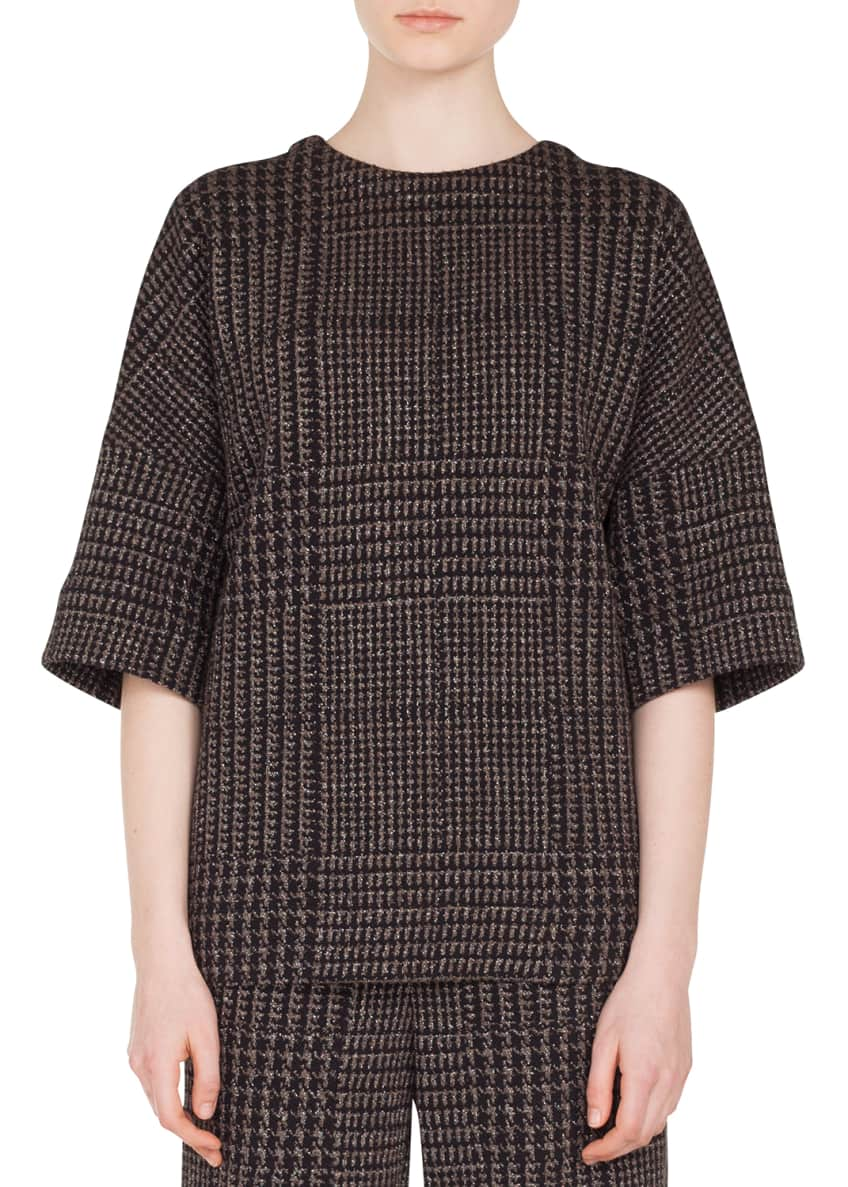 Akris punto Round-Neck Elbow-Sleeve Metallic Houndstooth Jacquard