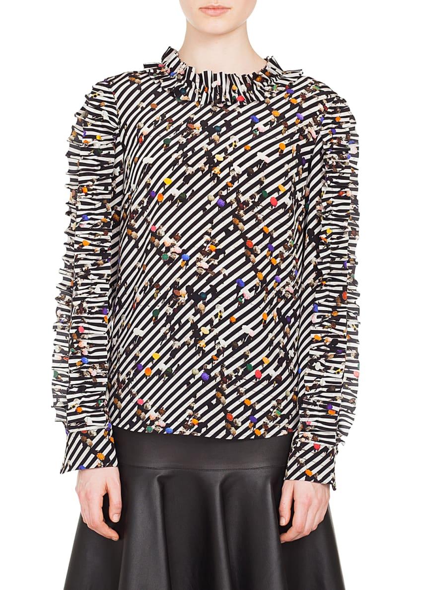 Akris punto Ruched Long-Sleeve Round-Neck Crossroad-Print Silk