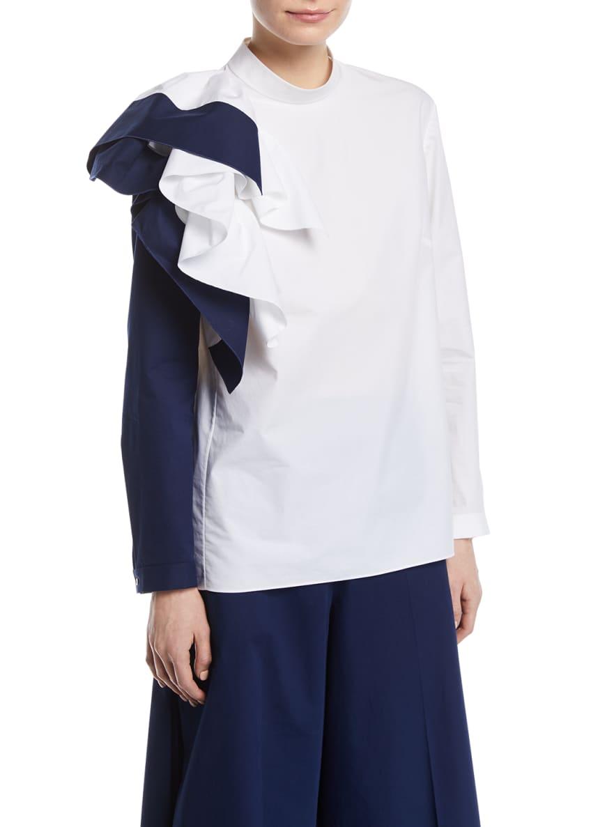 Delpozo Colorblock Ruffle Long-Sleeve Cotton Top & Matching