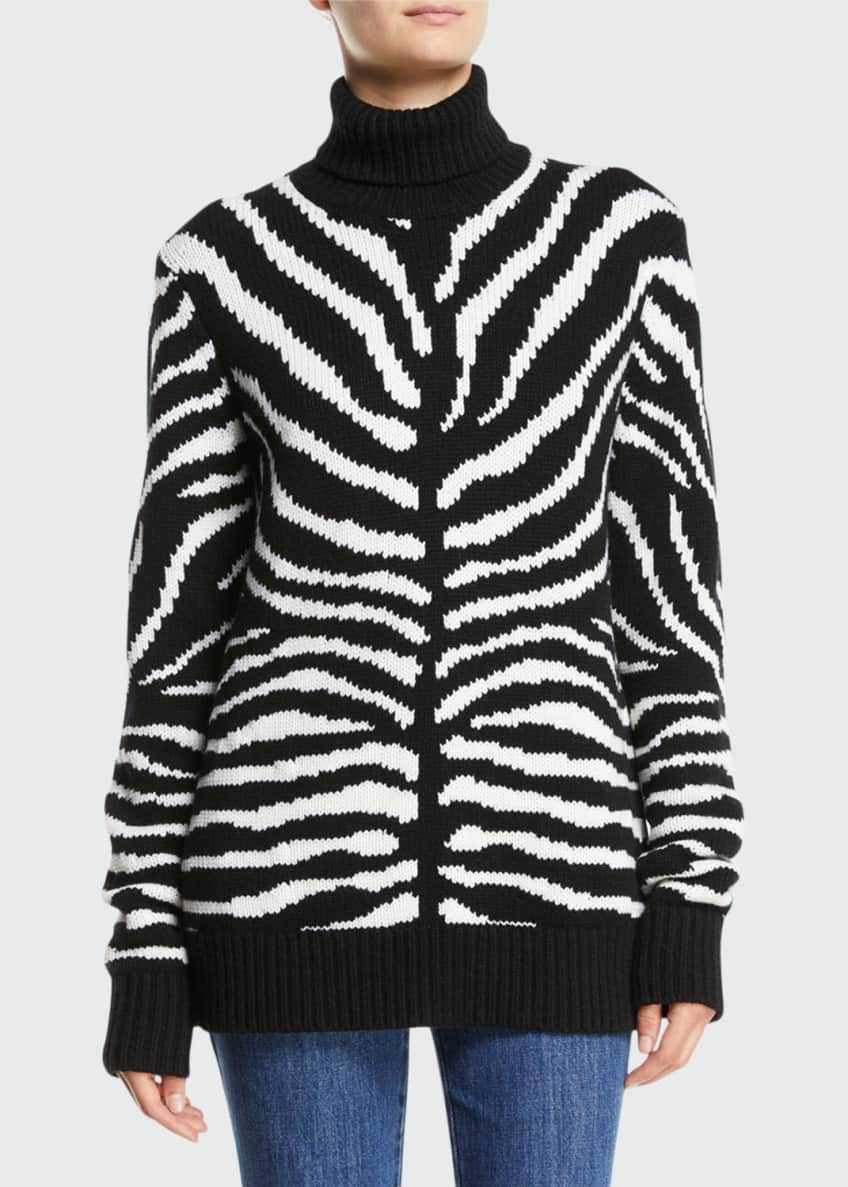 Michael Kors Zebra-Intarsia Cashmere Turtleneck Sweater &