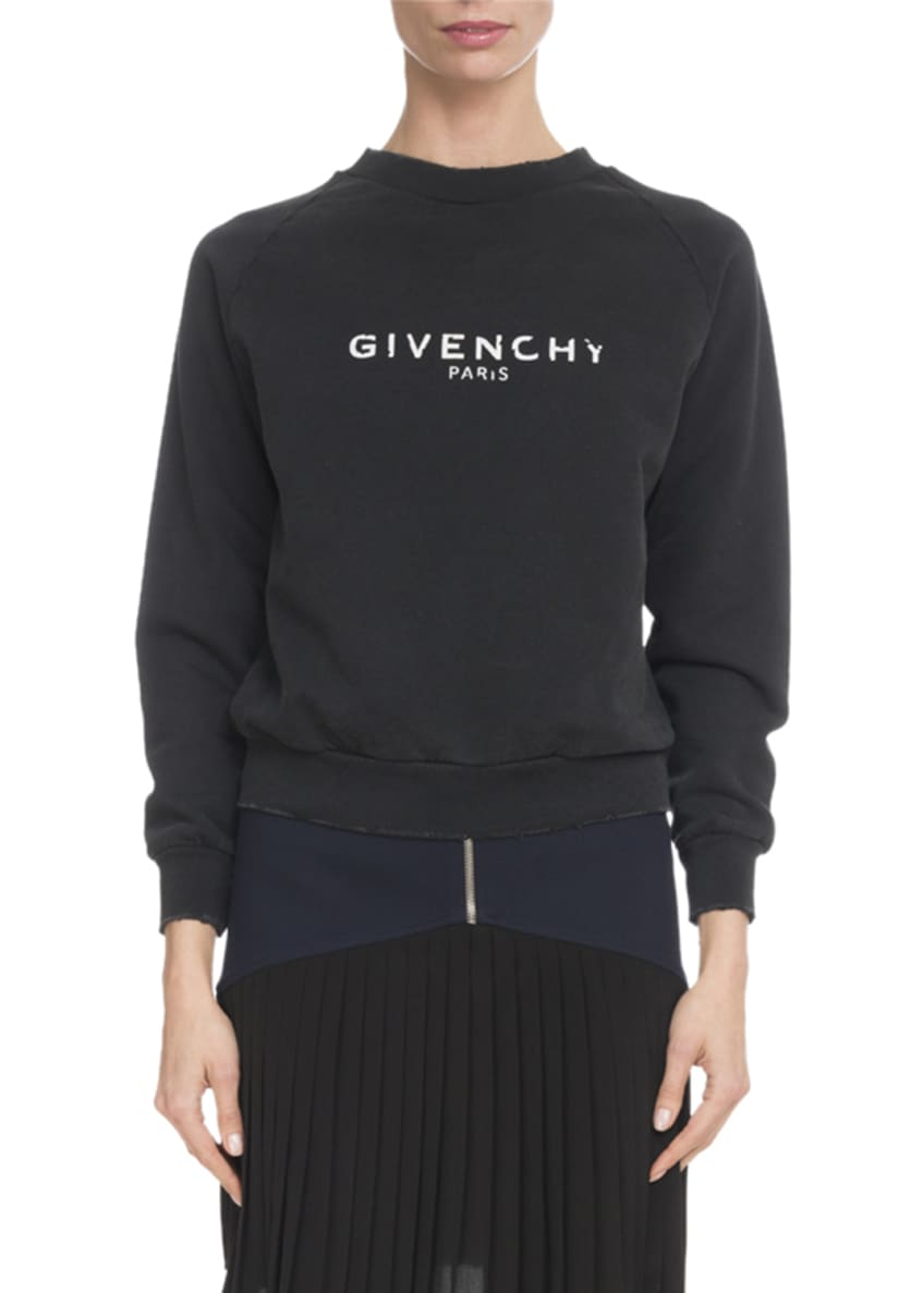 Givenchy Front-Zip Heavy Wool Crepe Skirt w/ Pleated