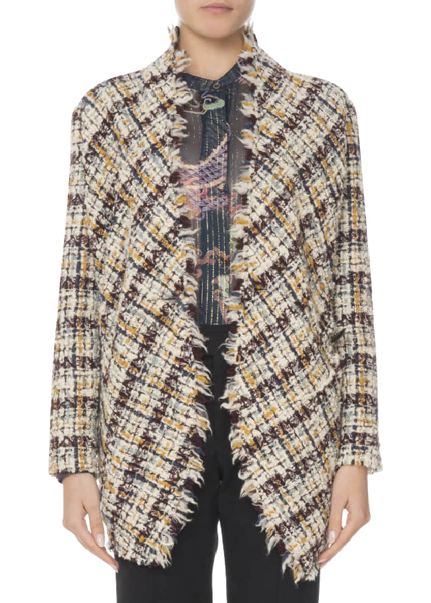 Isabel Marant Asymmetric One-Button Multi-Tweed Jacket & Matching